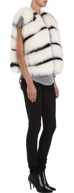 Barneys New York   Natural shadow fox and black dyed blue fox fur collarless vest with horizontal stripes   Fur origin: Finland
