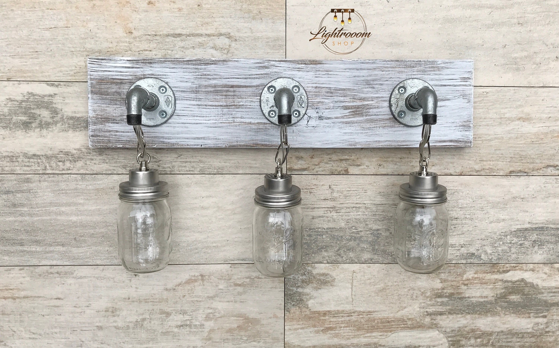 Photo of Vanity Light Fixture, Country-Style Mason Jar Light on White Wash Wood, Wall Light, Pendant Light, Bathroom Fixture, Rustic, Industrial