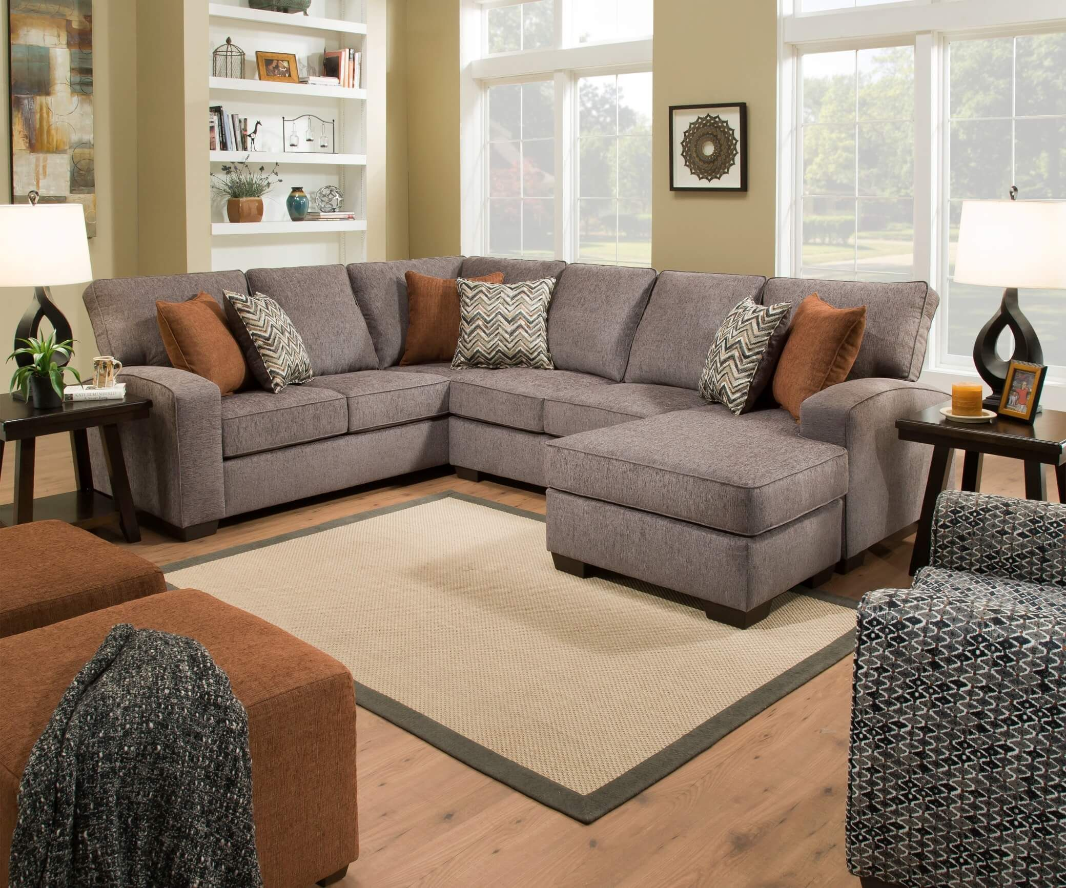 Endurance Grain Sectional With Chaise Urban Furniture Outlet In 2020 Living Room Furniture Layout Furniture Layout Furniture