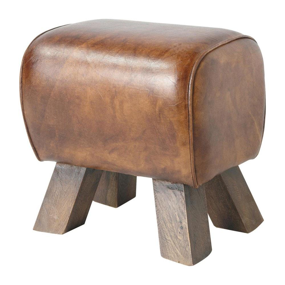 Hocker Aus Ziegenleder Braun Leather Stool Stool Affordable