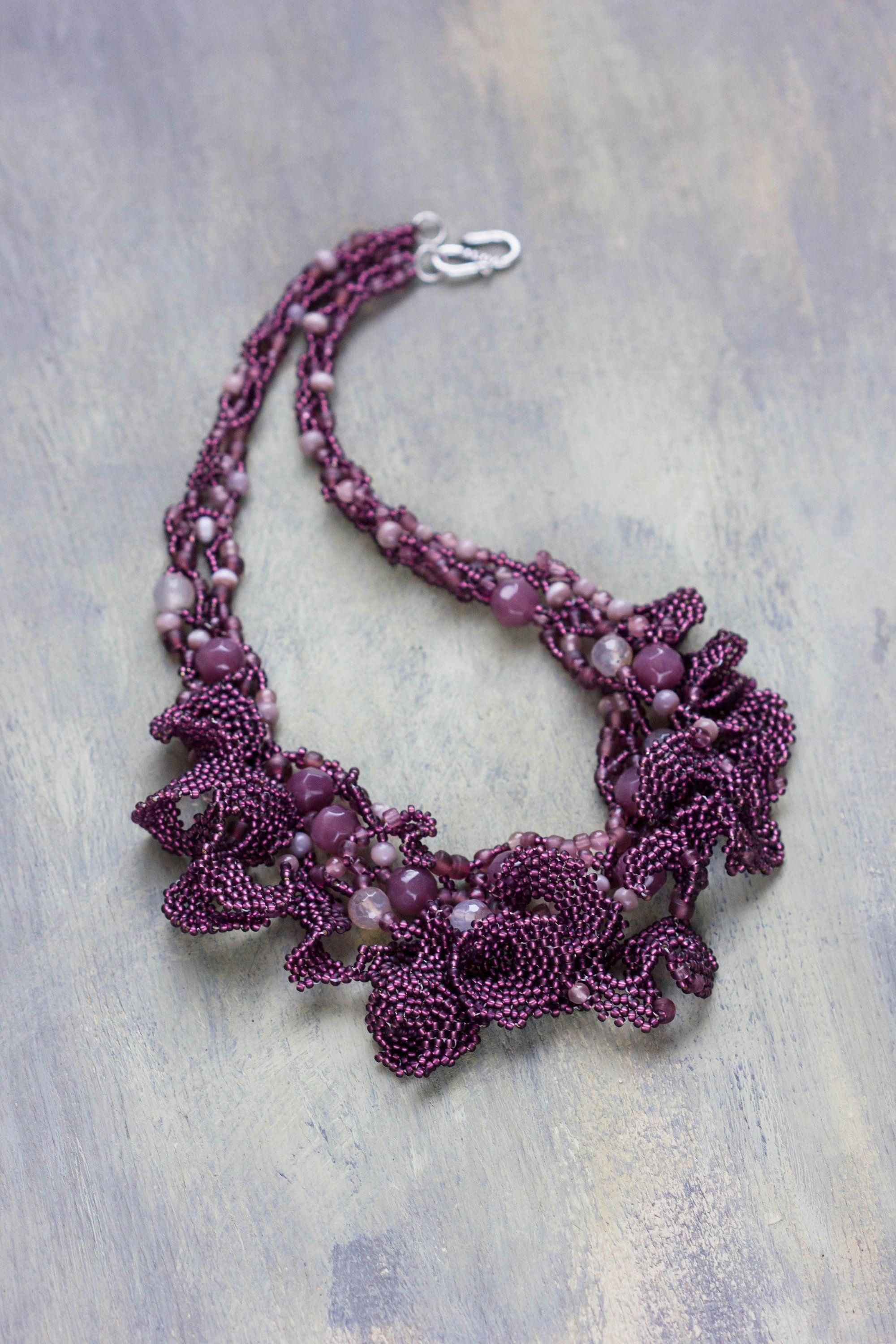 Beadwork Necklace Bead weave Necklace Gift Oglala Necklace Seed Bead Necklace Purple Necklace Beaded Statement Necklace Lace Necklace