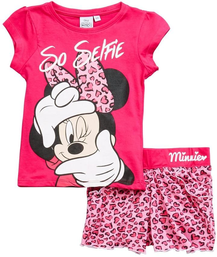 27dd12250b058 Minnie Mouse T-shirt And Short Set Pink | A payge | T shirt, shorts ...
