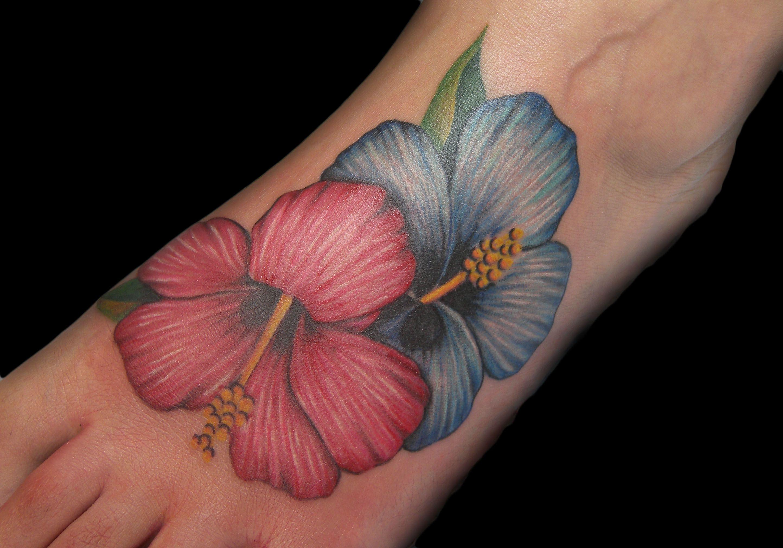 Realistic Hibiscus Flowers Tattoo On Foot Tattoos Pinterest