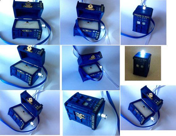 TARDIS Wedding Ring Box With LED Light Handmade TARDIS Engagement Ring Box  Doctor Who Proposal Box