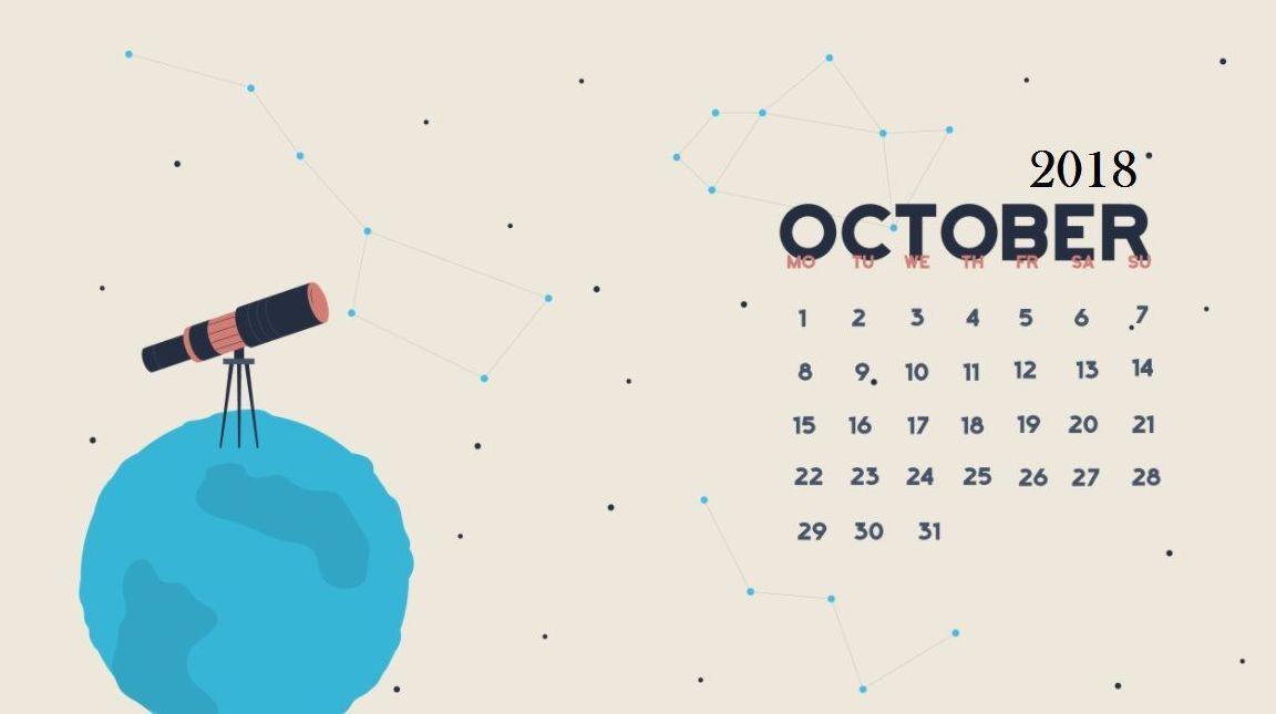 October 2018 Calendar Desktop Wallpaper  2018 Calendars  Pinterest  Arte