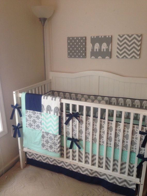 Crib Bedding Set Gray Navy And Mint By Erbeansboutique On Etsy 420 00 Favorite