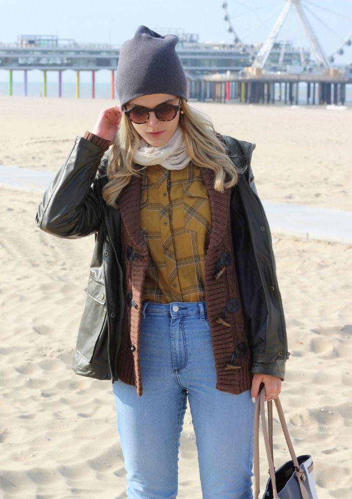 Outfit Wachsjacke Dufflecoat Jeans