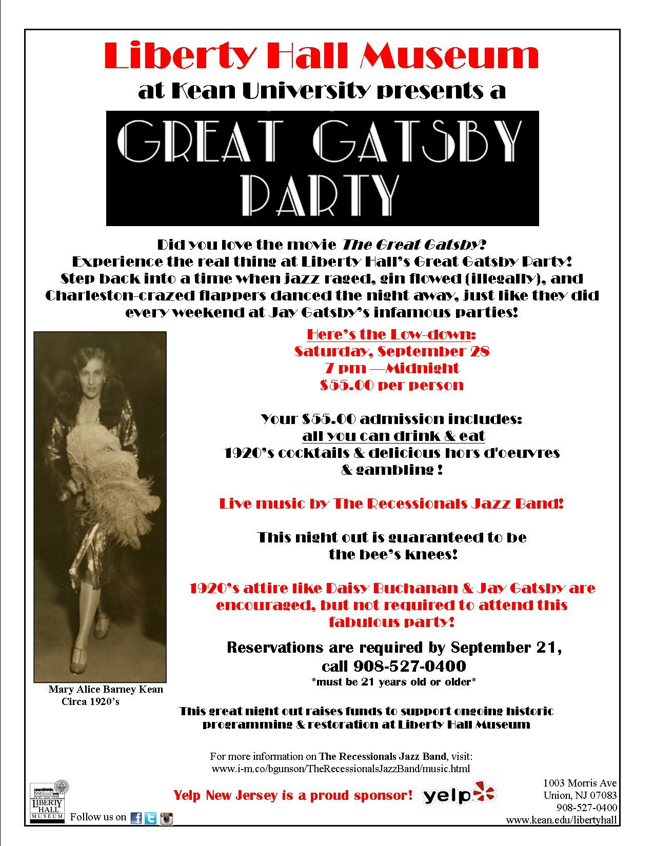 Join us for our Great Gatsby party on September 28th from 7-Midnight ...