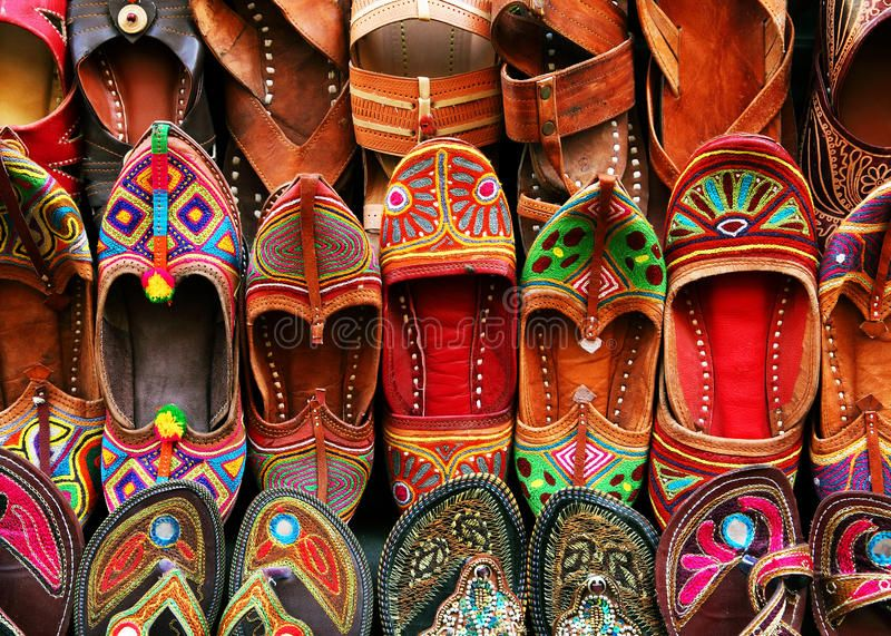 Indian traditional slippers. In Jaisalmer market