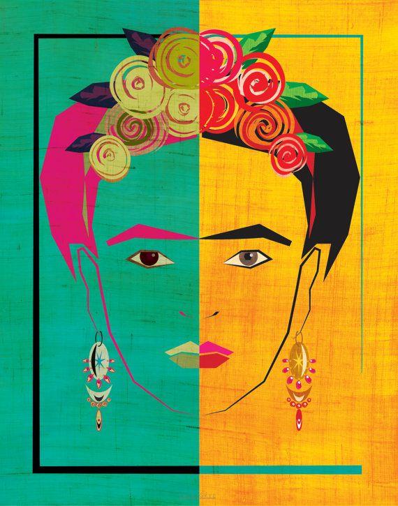 Frida Kahlo había inspirado retrato en verde azulado brillante y dorado con una textura sutil.  Este listado está para una imagen de color profesionalmente impresa en cartulina de calidad de 120 lb. Después de su pago es recibido, enviará la impresión que dentro de 2 días hábiles. Tenga en cuenta, porque los monitores son muy diferencian, el color de la impresión puede ser ligeramente diferente de lo que se ve en la pantalla.  Un borde de 1/4 blanco se proporciona en la impresión para fines…