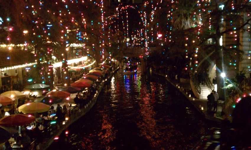 Thousands of holiday lights decorate the River Walk. San