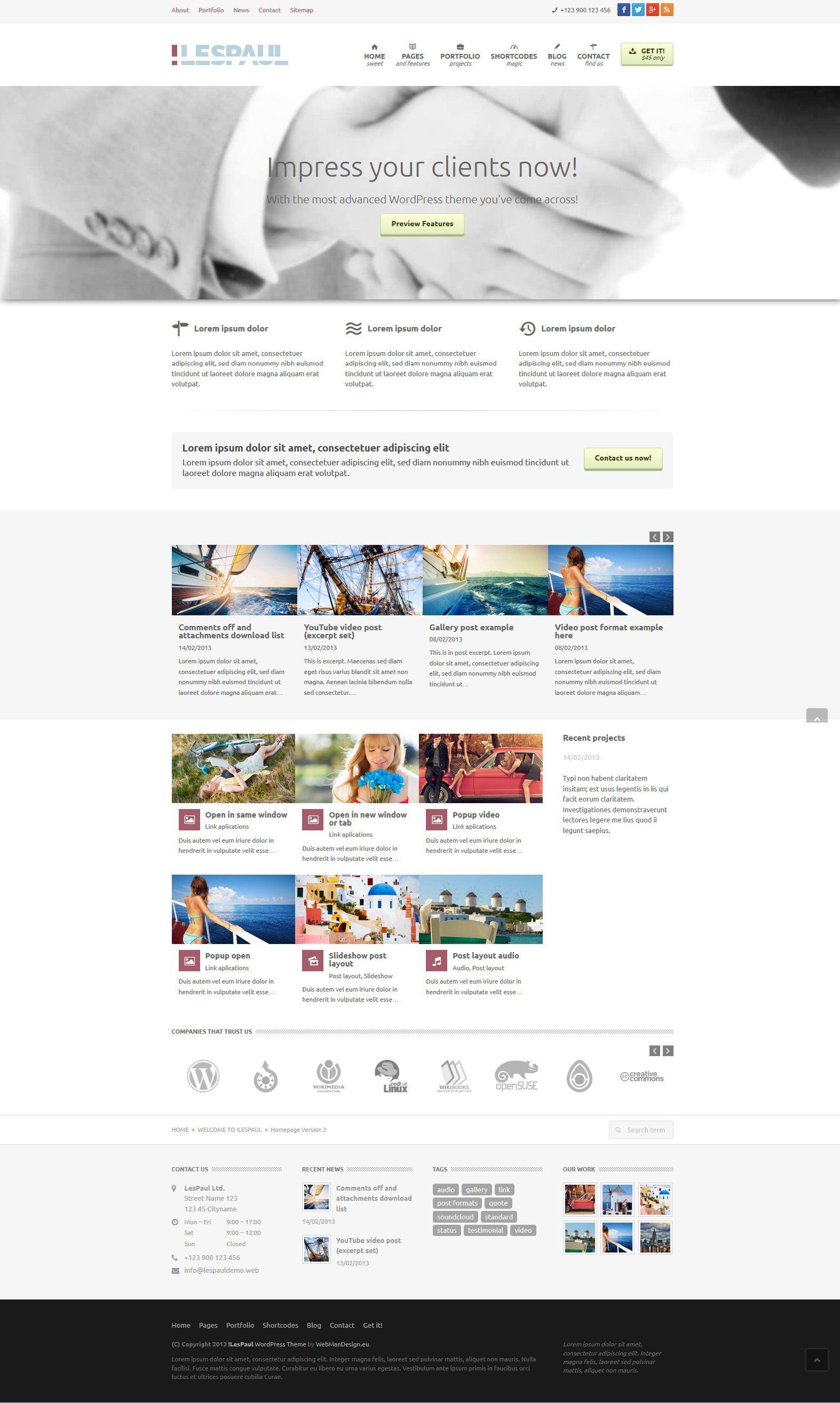 LesPaul   Responsive, Full-Width, Corporate, Wordpress Template ...