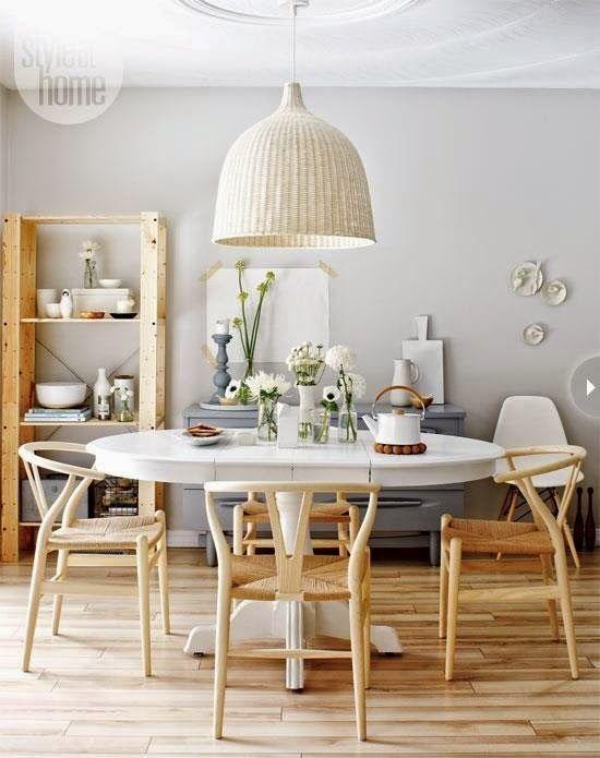lovely scandinavian style interior design | Lovely Shelter: Wicker pendant light | Dining room design ...
