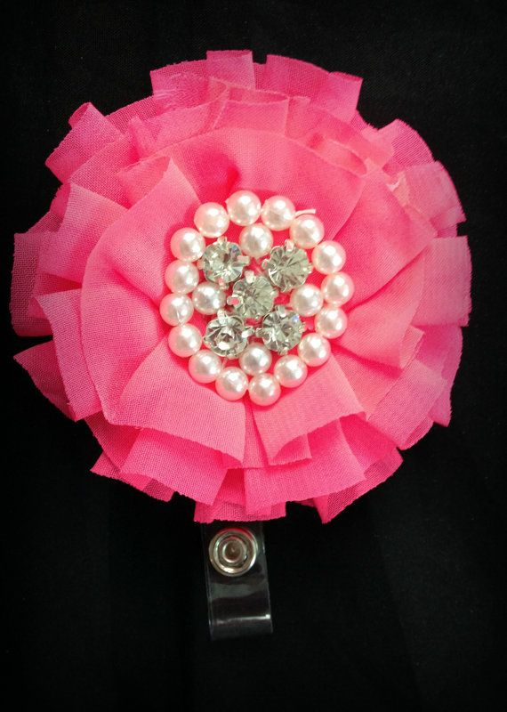 Hey, I found this really awesome Etsy listing at https://www.etsy.com/listing/199531848/neon-pink-chiffon-flower-badge-reel-id