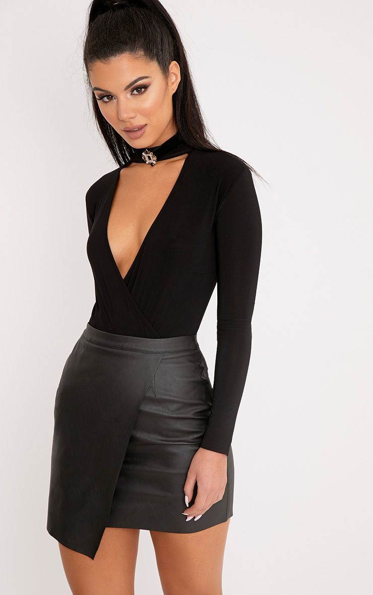 afd17157d4a Leather skirts - Women s skirts made of suede or smooth leather for a sexy  outfit Leather skirts luisa black faux leather wrap mini skirt