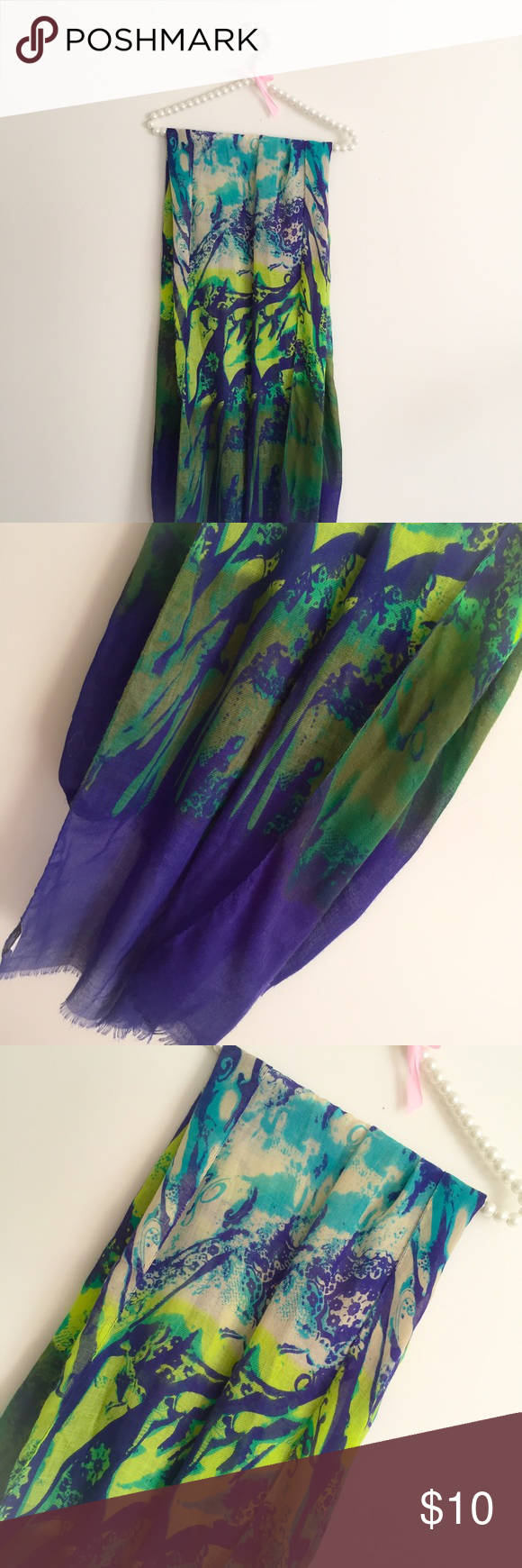 Abstract watercolor scarf🌀💙💫 Abstract watercolor scarf from Apt. 9. One of my favorites but I have so many scarves so I'm retiring some. In beautiful condition, material is polyester. So bright and vivid, I received a lot of compliments! Heady afff. Reminds me of Free People. ✖️NO TRADES✖️ ✖️No holds✖️ ✖️No lowest?/lowballing✖️ 💲10% discount on bundles Apt. 9 Accessories Scarves & Wraps