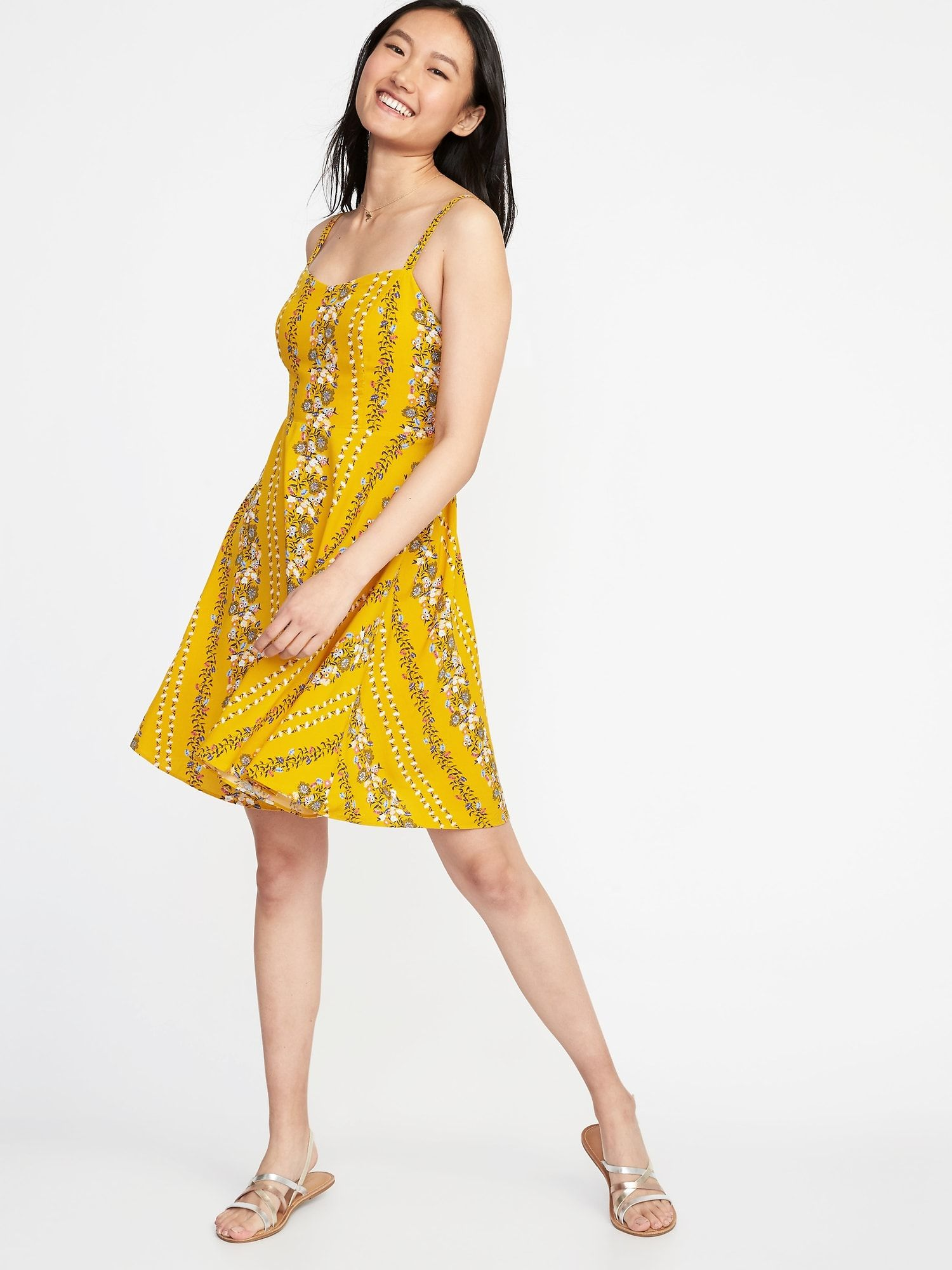 332299fba1b08 Fit & Flare Printed Cami Dress for Women Plus Size Sundress, Yellow  Sundress,