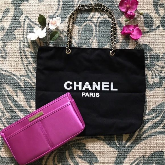 89fd7ab0d55c Authentic Chanel VIP black canvas shopper W/CHAINS Authentic Chanel black  canvas VIP shopping bag with signature gold and leather chainstrap...  identical on ...