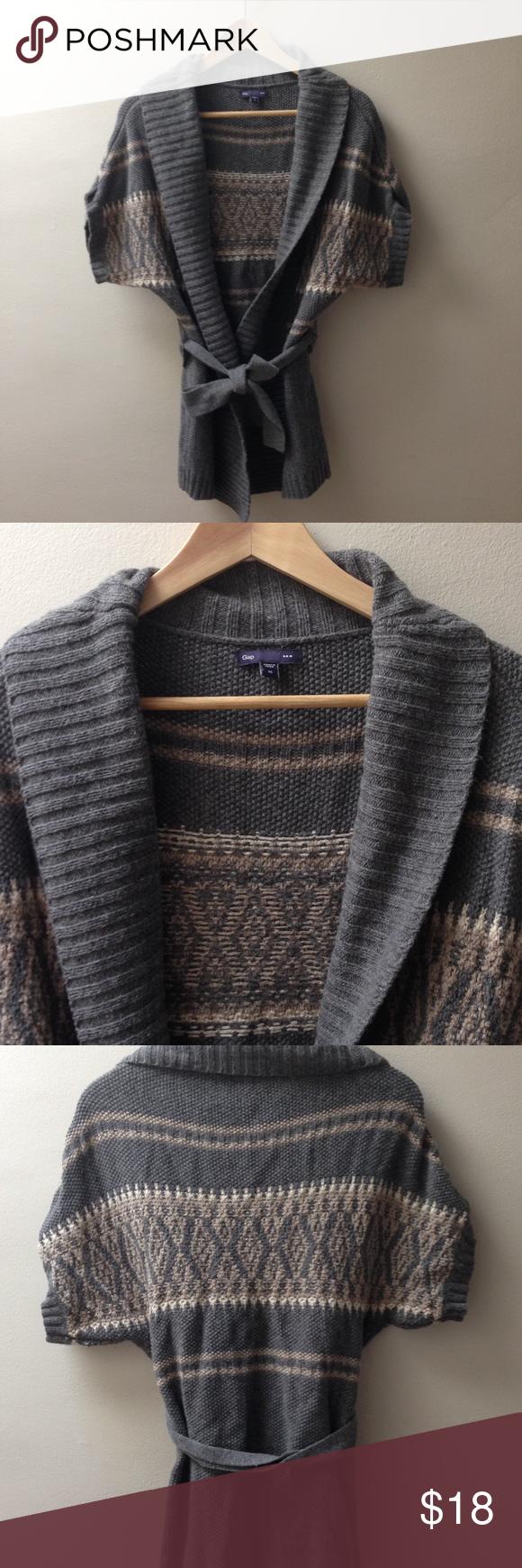 Gap Sweater Gap Factory short sleeve wrap sweater with tie belt ...