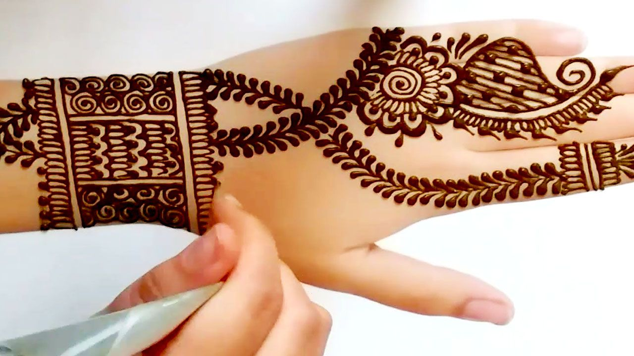 Easy Mehndi Design Tutorial For Hands نقش حناء سهل تصميم تعليمي لليد Mehndi Simple Simple Mehndi Designs Mehndi Designs