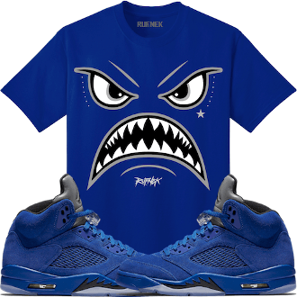 07d35706936 Jordan Retro 5 Royal Blue Suede Sneaker Tee Shirt to match made by Original  Rufnek Clothing