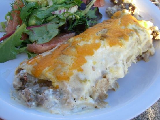 Sour Cream Beef Enchiladas Recipe Mexican Food Com Creamed Beef Enchilada Recipes Sour Cream Enchiladas