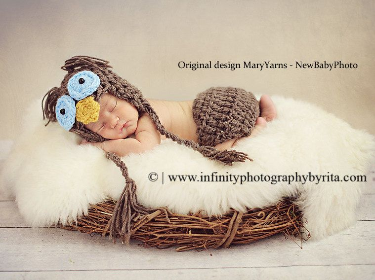 OWL Set 2pcs Hat-diaper cover Blue Eyes Newborn Baby Photo Prop in ...
