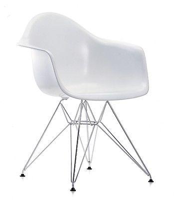 Mondo Plastik Stuhl Retro Chair Loft Industrial Design Abs Schale Weiss Chrom Eames Eames Plastic Chair White Eames Chair