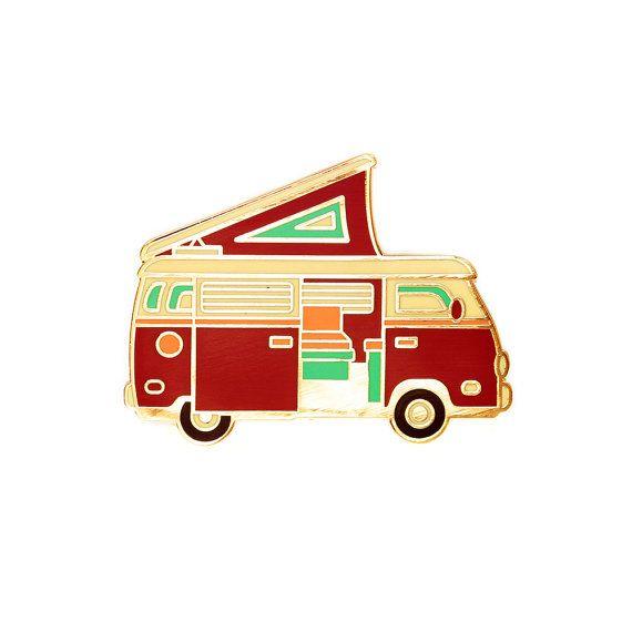 Red Camper Van Enamel Lapel Pin Badge // Artist par lostlustsupply