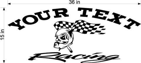Skull Racing Team Name Trailer Decal Vinyl Decal Custom Text - Custom vinyl decals for trailers