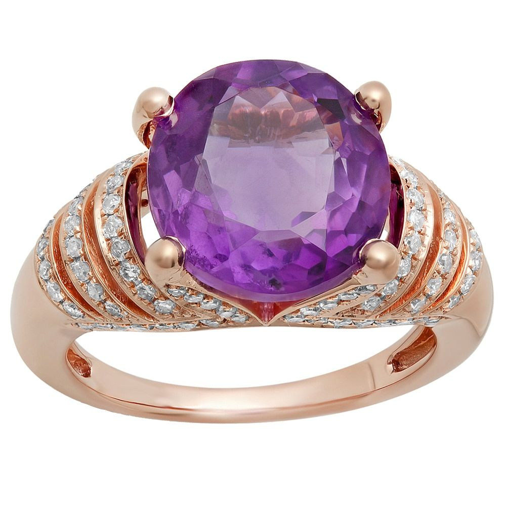 10k Gold 6 1/4ct TW Oval Amethyst And Round White Diamond