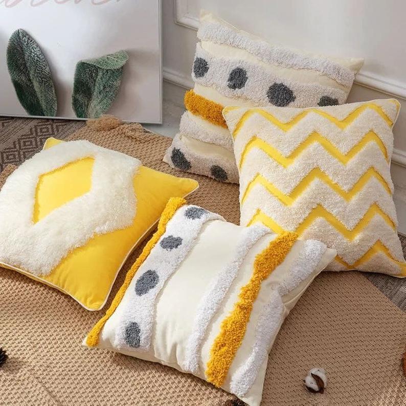 Ethnic Bohemian Moroccan Geometric Cotton Linen Pillow Case Square Cushion Cover