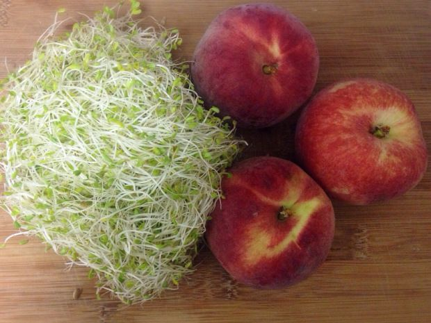 Grilled White Peaches with Alfalfa Sprouts
