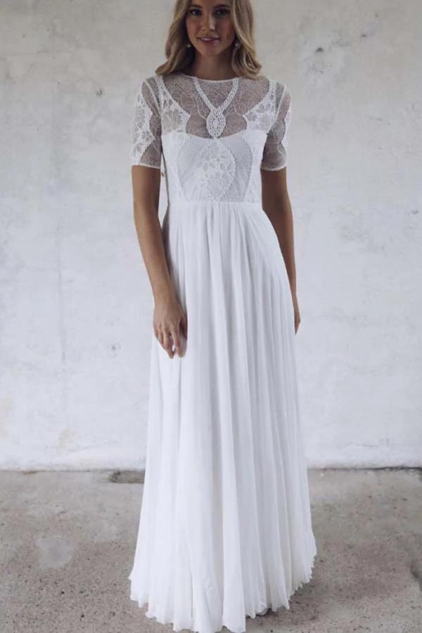 Half Sleeve Ivory Lace Illusion Beach Wedding Dresses with