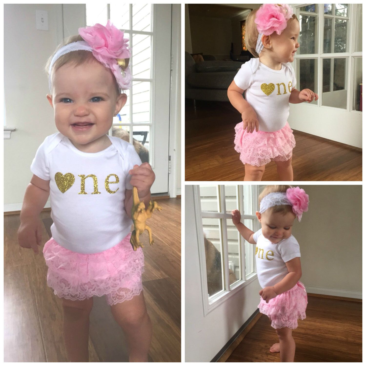 Pink and Gold First Birthday Outfit...First Birthday Girl
