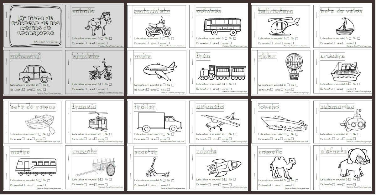 Libritos divertidos de medios de transporte para colorear | libro de ...