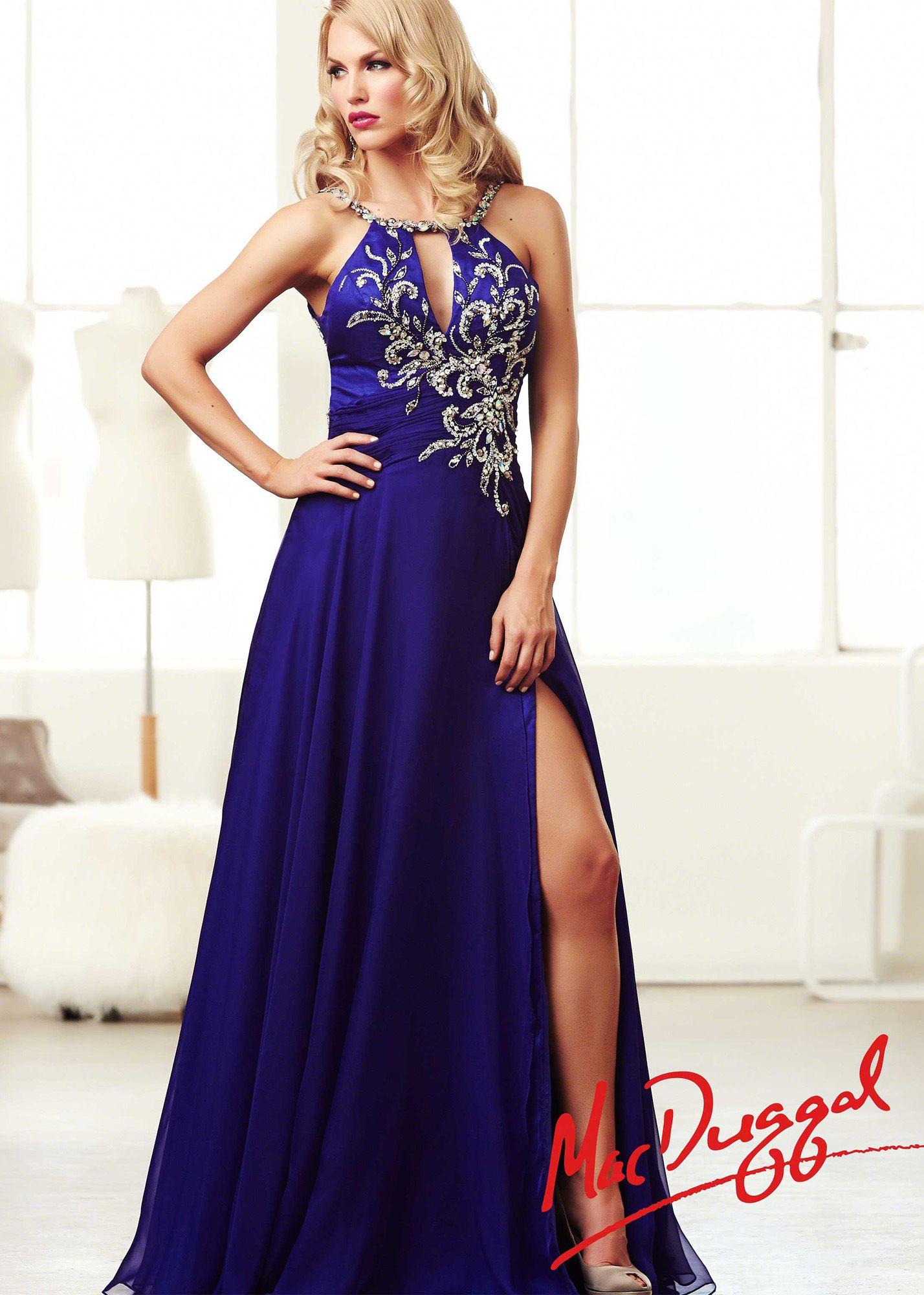 b2d1fed7b84 Mac Duggal 82041M - Cobalt Beaded Halter Chiffon Prom Dresses Online   thepromdresses