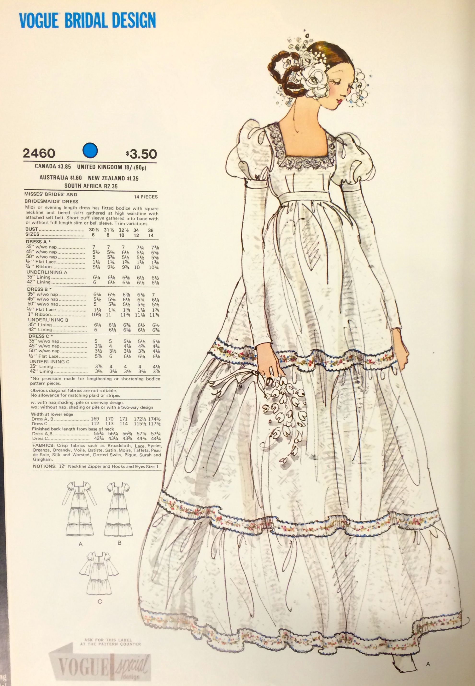 1970 wedding dresses  Wedding gown pattern from a  Vogue Patterns catalog