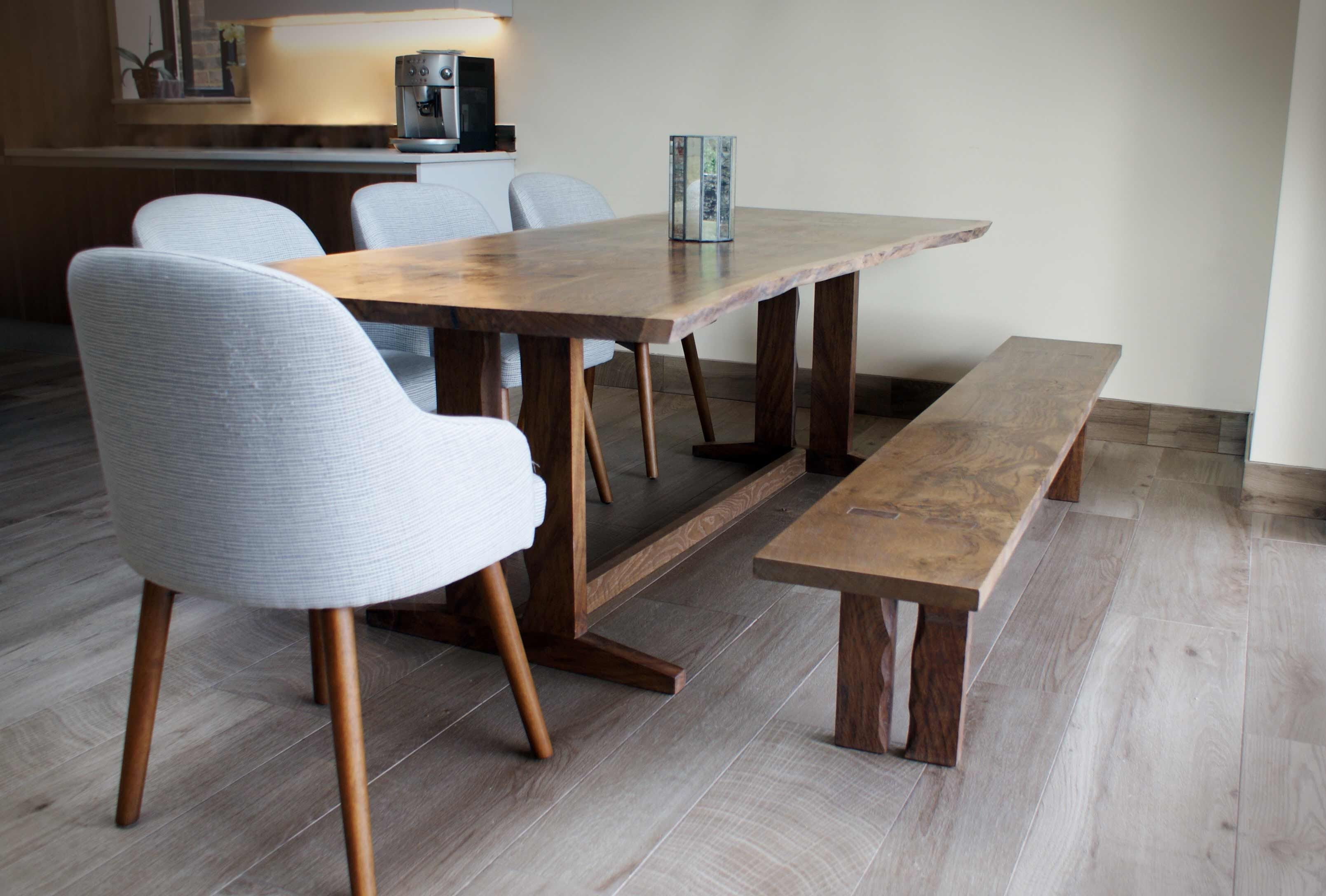 Waney Edged Dining Table In Solid Figured English Oak With Matching Bench