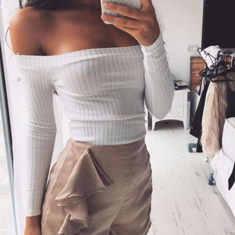 fde94db5f4931f  16.5 - Nice Sexy Slash Neck Long Sleeve Knit Crop Top Women Off the  Shoulder Sheath Stretch Slim Shirts Tops Autumn Winter Tees - Buy it Now!