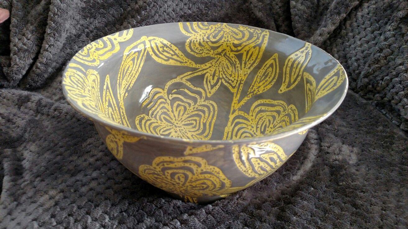 Laura Wowk Pottery wheel thrown white stoneware. Wax resist. Multiple glaze layers.