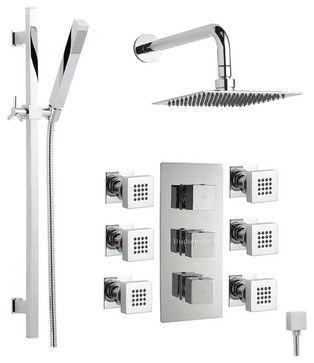 """Chrome Triple Thermostatic Shower System With 7"""" Head 6 Body Jets and Handset - contemporary - Showerheads And Body Sprays - Other Metro - Hudson Reed"""