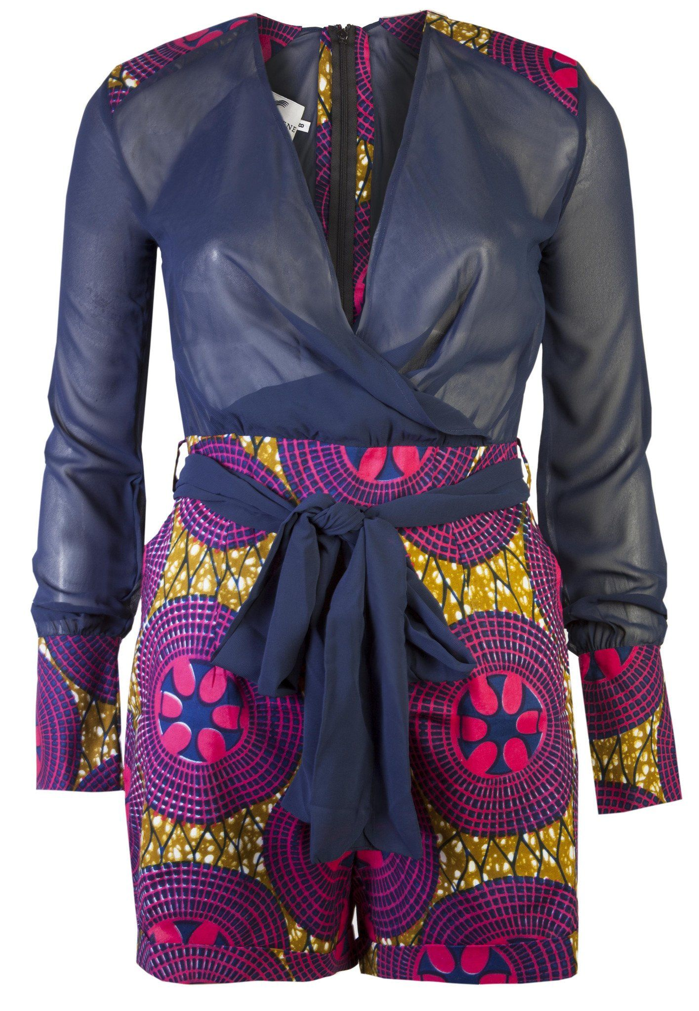 Evelyn african print playsuit ohema ohene african inspired
