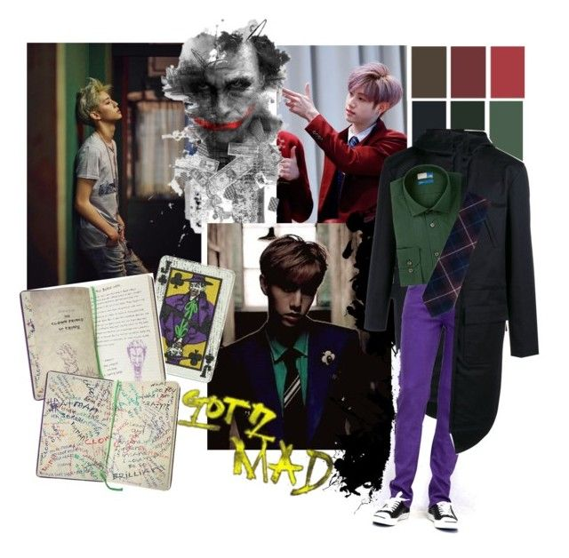 """""""GOT7 GONE MAD: Mark/Joker"""" by the-neon-rose ❤ liked on Polyvore featuring Raf Simons, 14th & Union, men's fashion, menswear and btspolyvorearmy"""