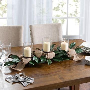 Magnolia Leaf And Burlap Centerpiece Farmhouse Dining Room Decor Farmhouse Dining Rooms Decor