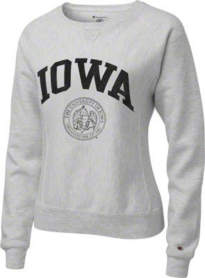 475b26cdd Iowa Hawkeyes Women s Silver Grey Champion Seal Reverse Weave Crewneck  Sweatshirt. BUY THIS FOR ME FOR INFINITE LOVE.