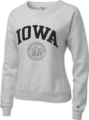 Iowa Hawkeyes Women's Silver Grey Champion Seal Reverse Weave ...