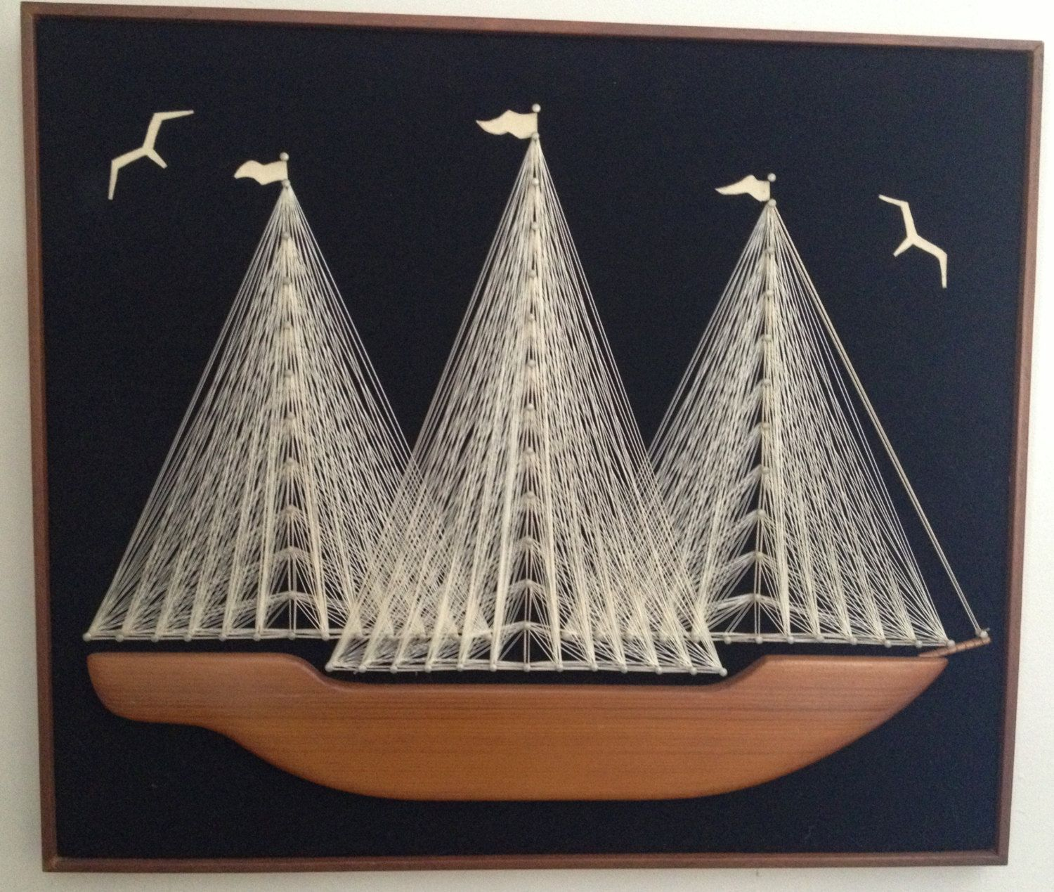 S sailboat string art with real wood hull mid century wall
