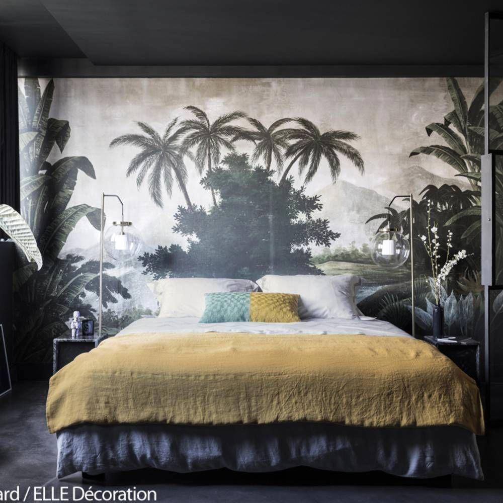 Chambre à la déco exotique #DécorationCheminée  Chambre à coucher