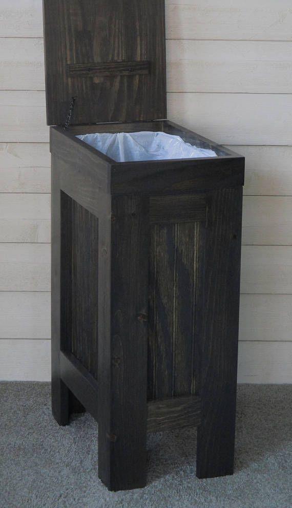 Wood Trash Can Kitchen Garbage Bin Rustic